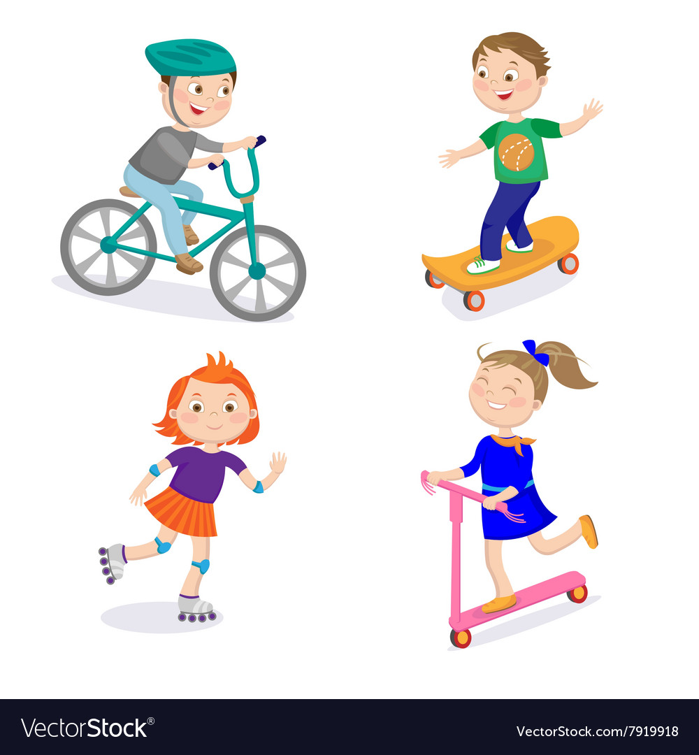Kids sports characters cycle racing skateboarding vector