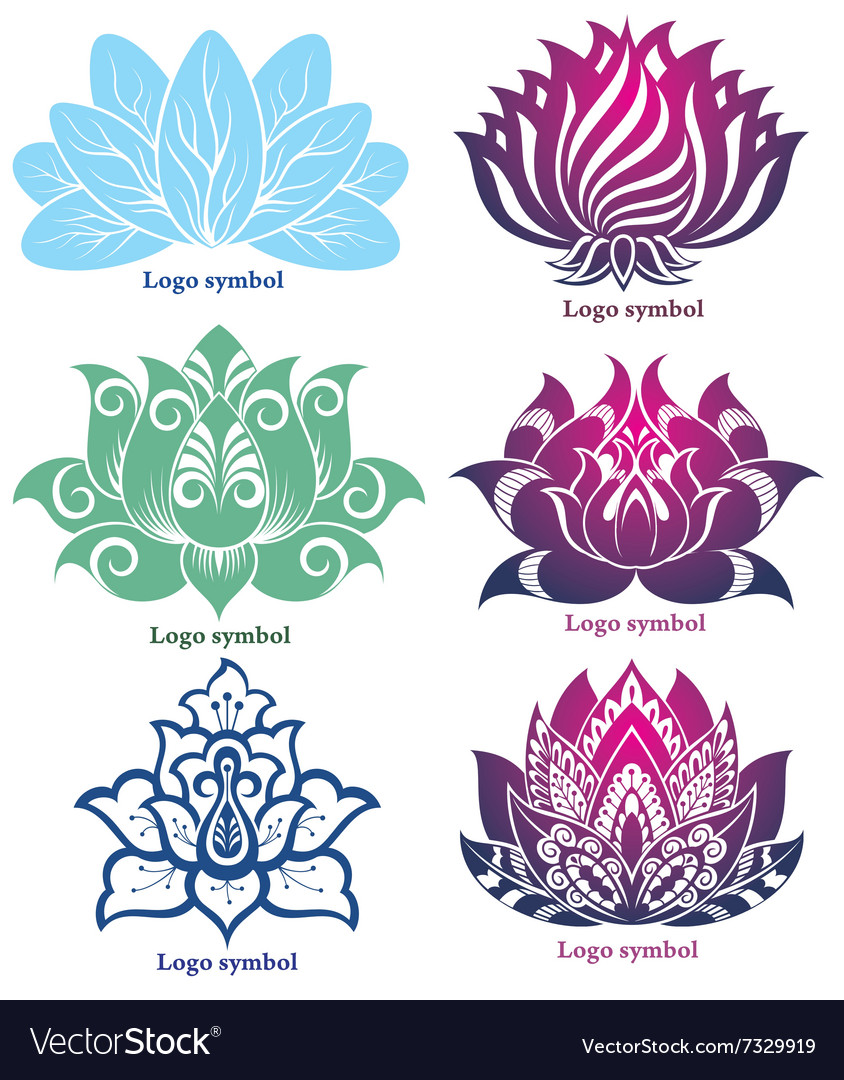 Lotus silhouettes for design vector