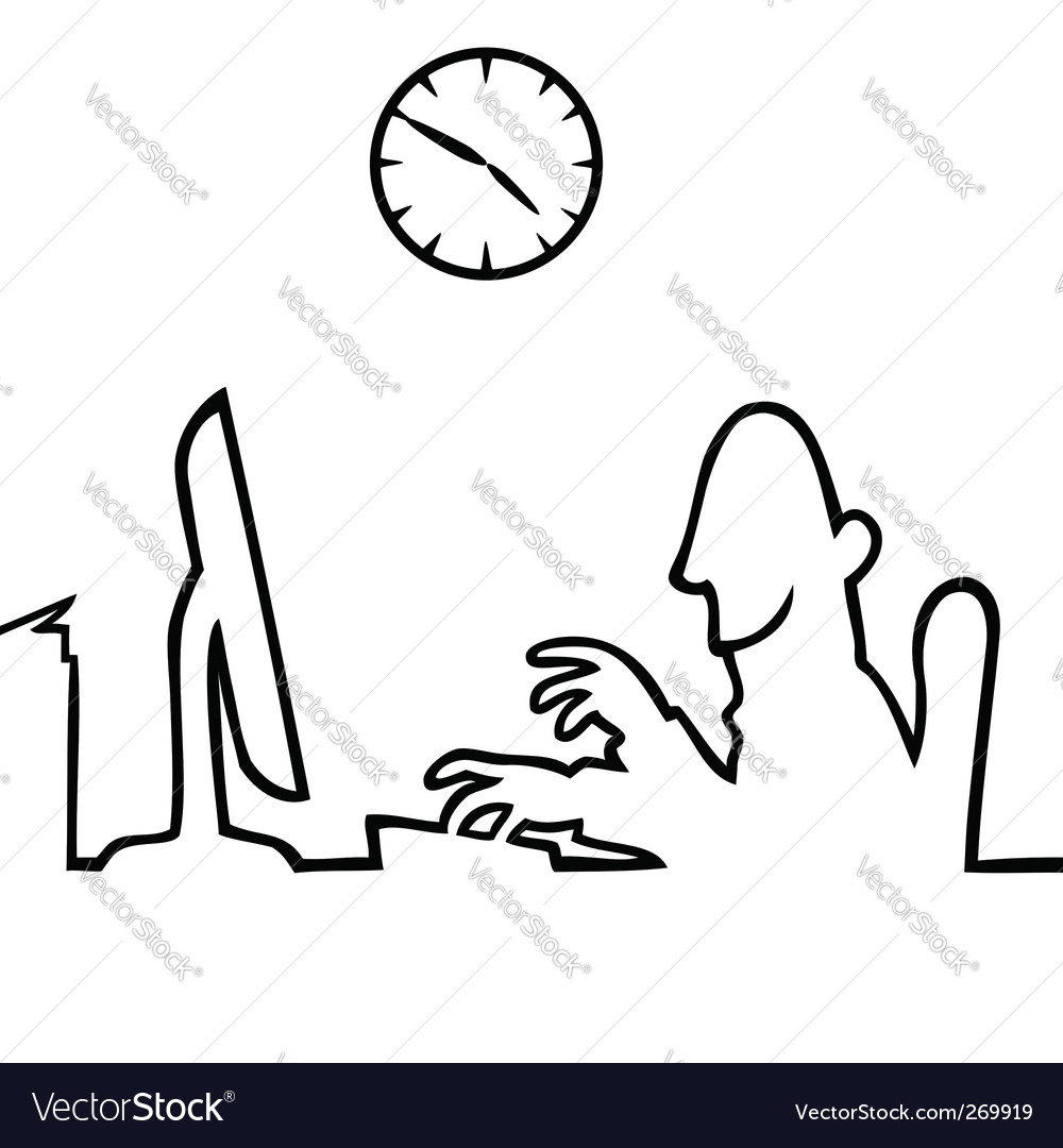 Man behind a computer working vector
