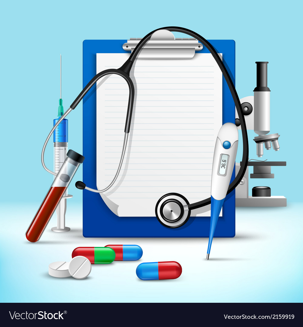 Stethoscope and notes medical frame vector