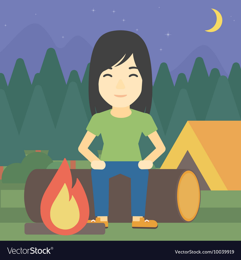 Woman sitting on log in the camping vector
