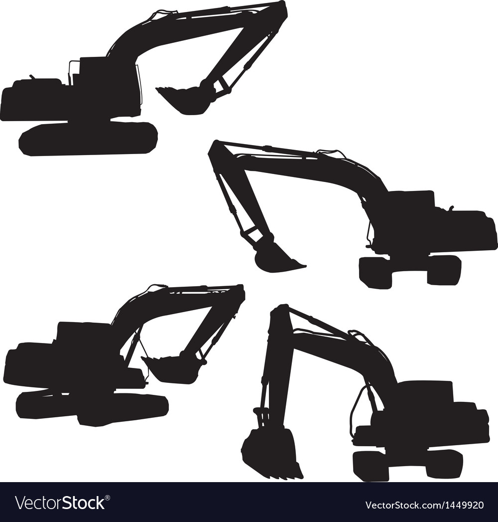 Backhoe silhouette vector