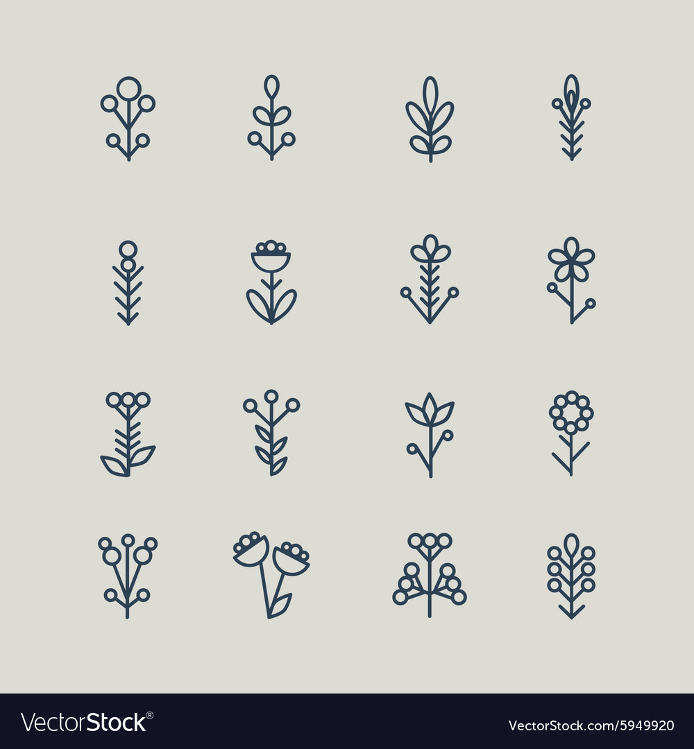 Set of abstract line icons flowers vector