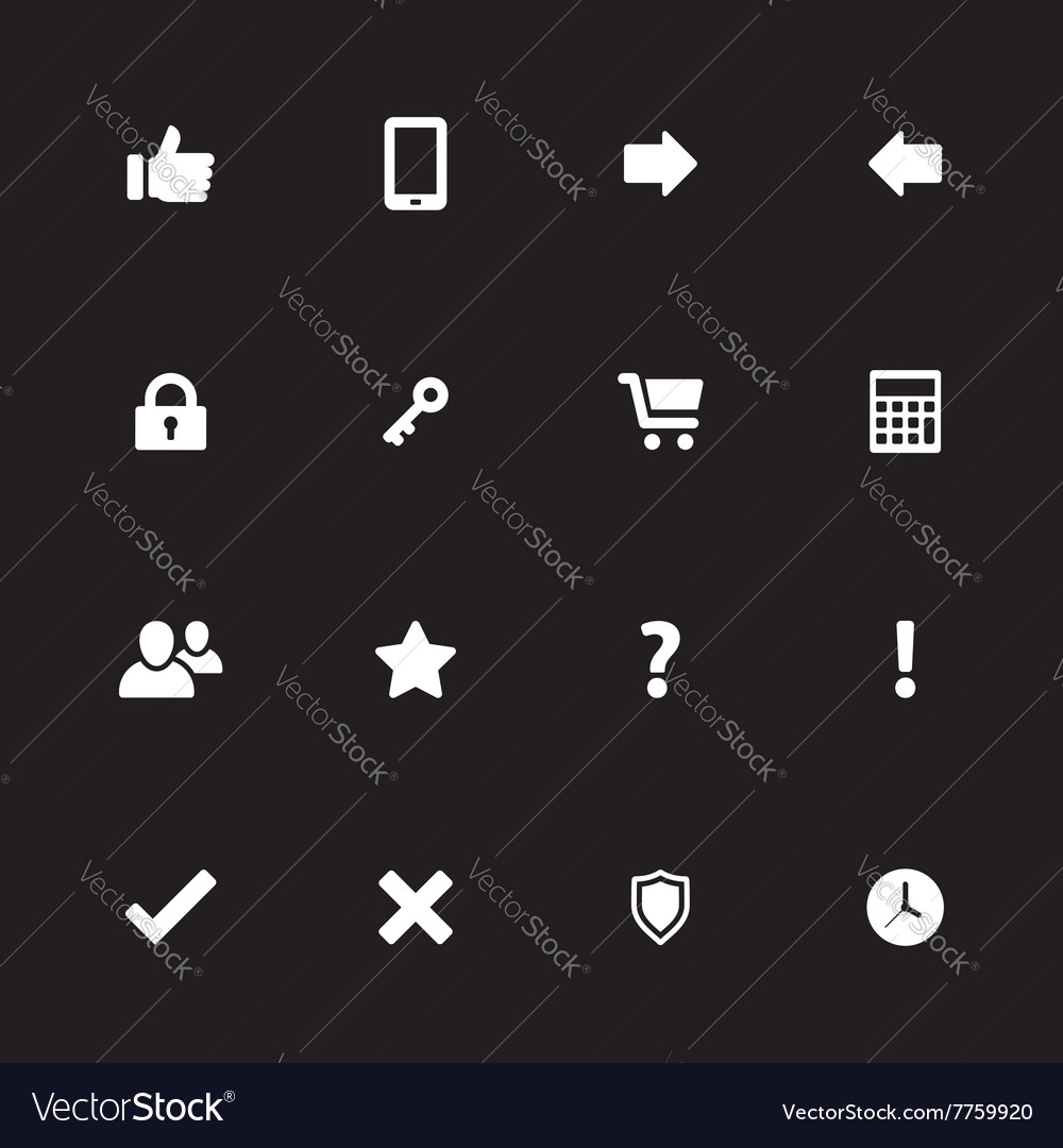 White simple flat icon set 2 vector