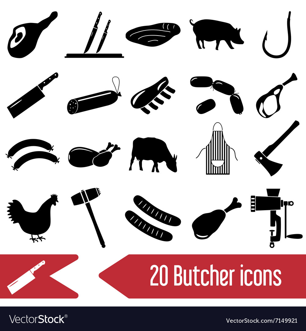 Butcher and meat shop black icons set eps10 vector