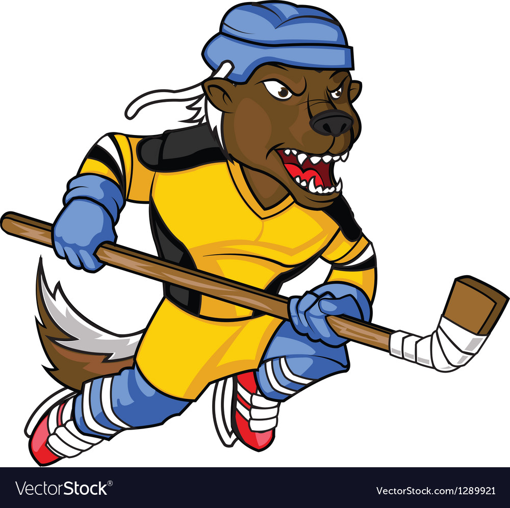 Honey badger hockey mascot vector
