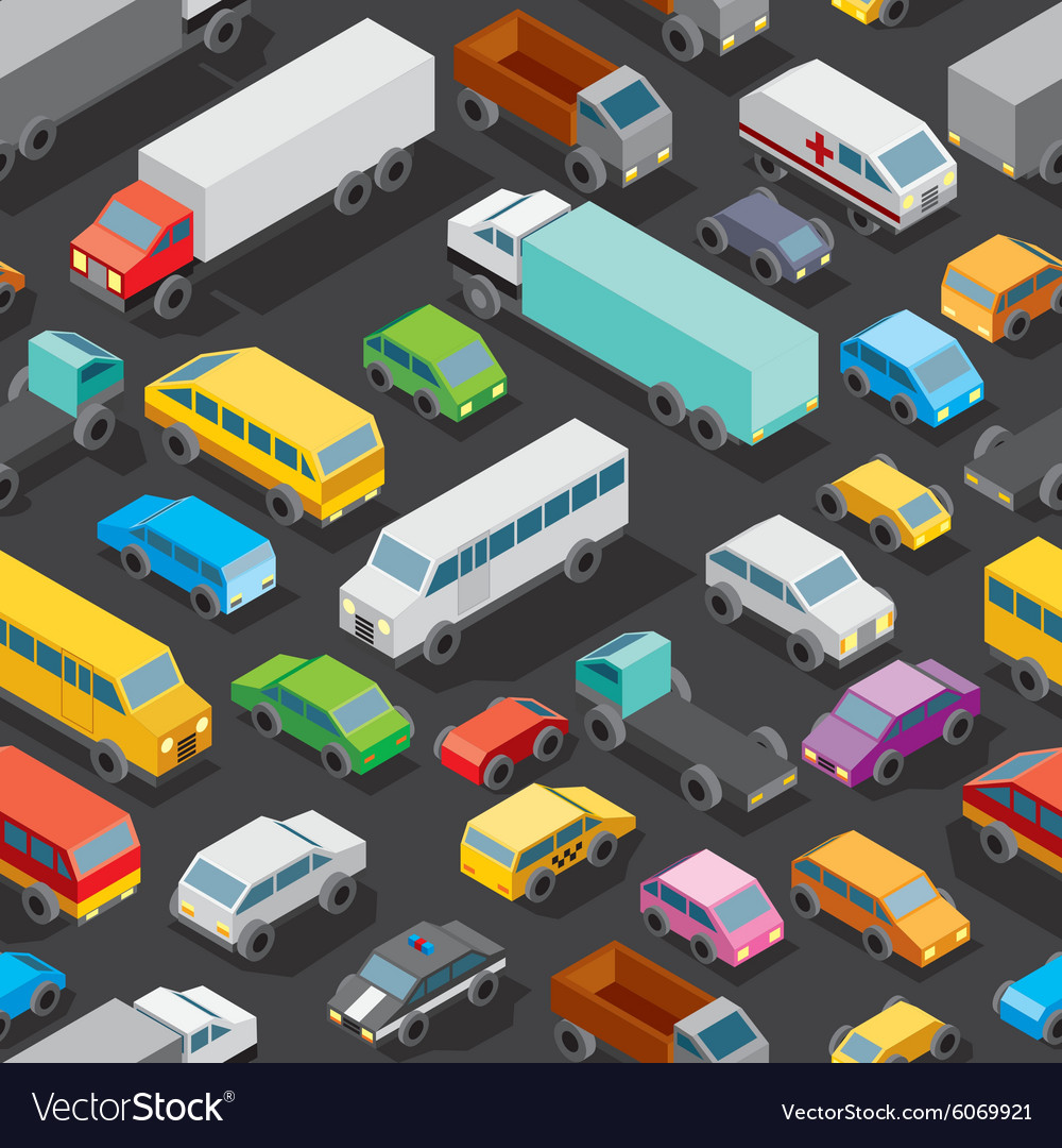 Seamless car parking pattern vector