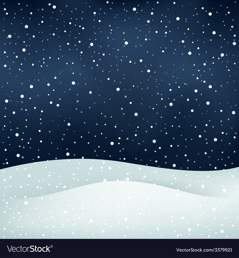 Snowfall night background vector