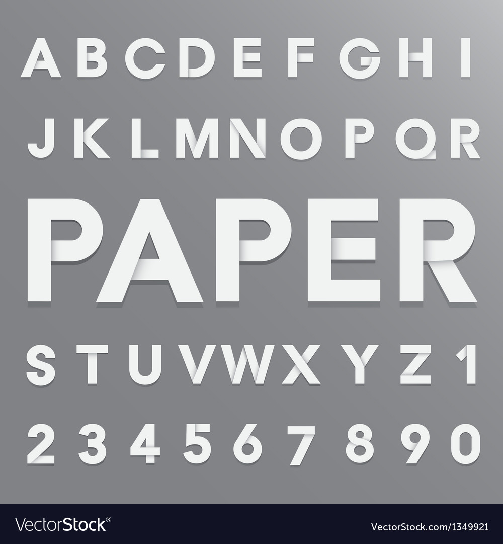 White paper alphabet with shadow eps10 vector