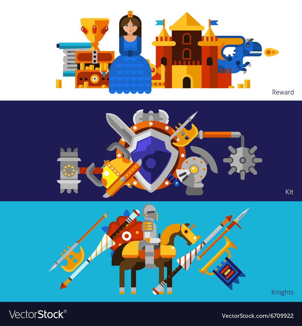 Horizontal knight banners set vector