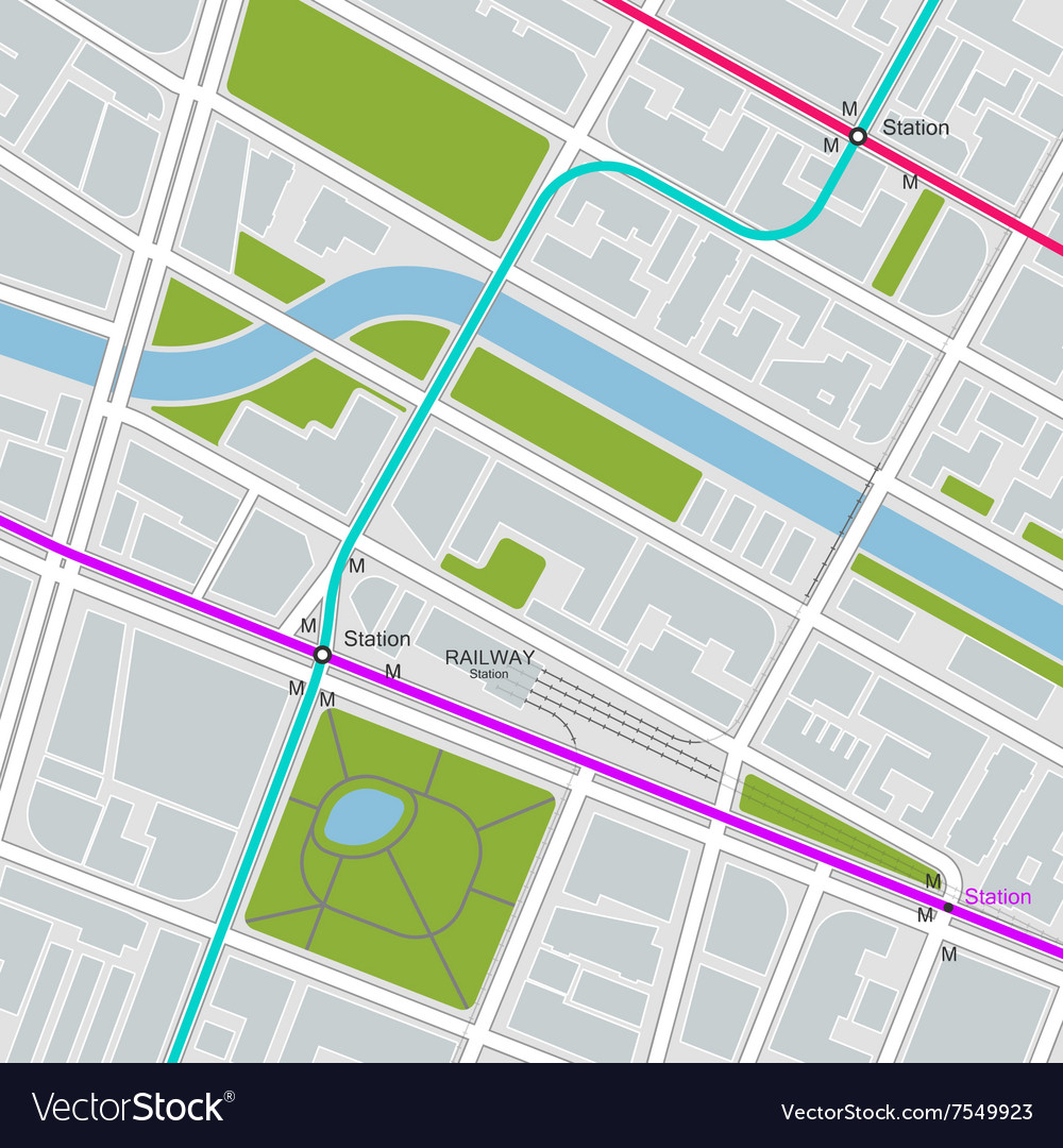 City map with transportation scheme vector