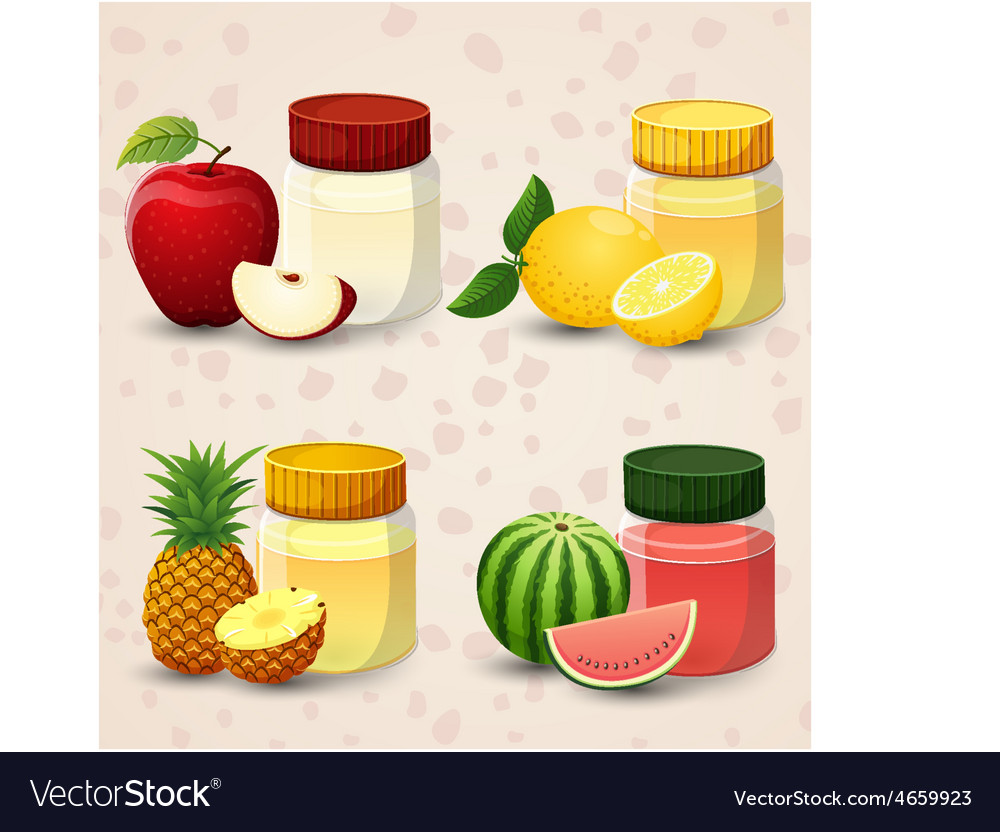 Fruits and juice in a glass jar set 1 vector