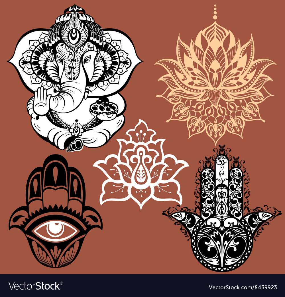 Set of yoga elements vector