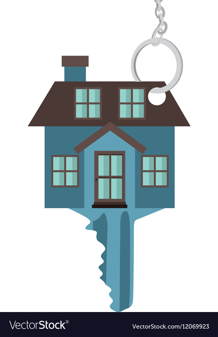 Silhouette key blue color with shape house vector