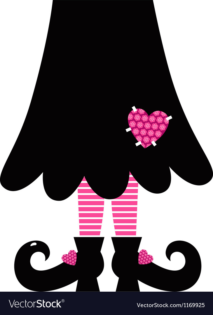 Cute valentines witch legs isolated on white vector