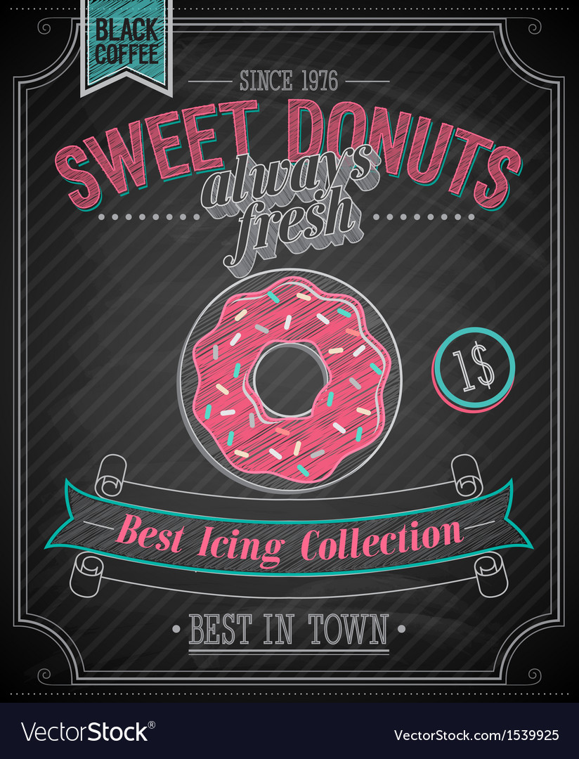 Donut chalk vector