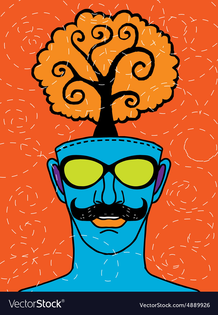 Hipster hand drawn human head with tree vector