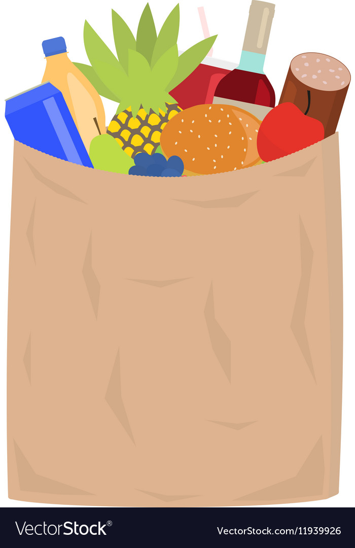 Market paper shopping bag full groceries vector