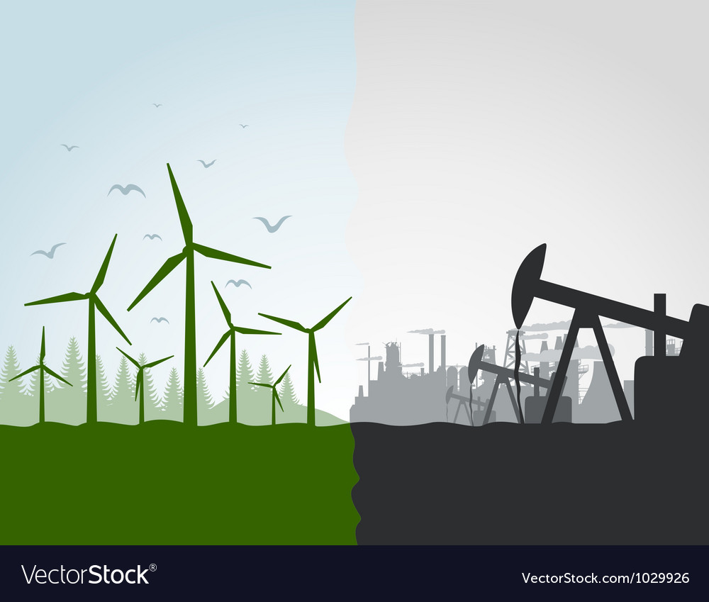 Nature against the industry vector