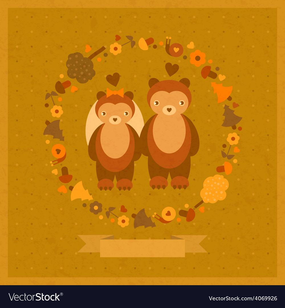 Wedding amusing card with bears vector