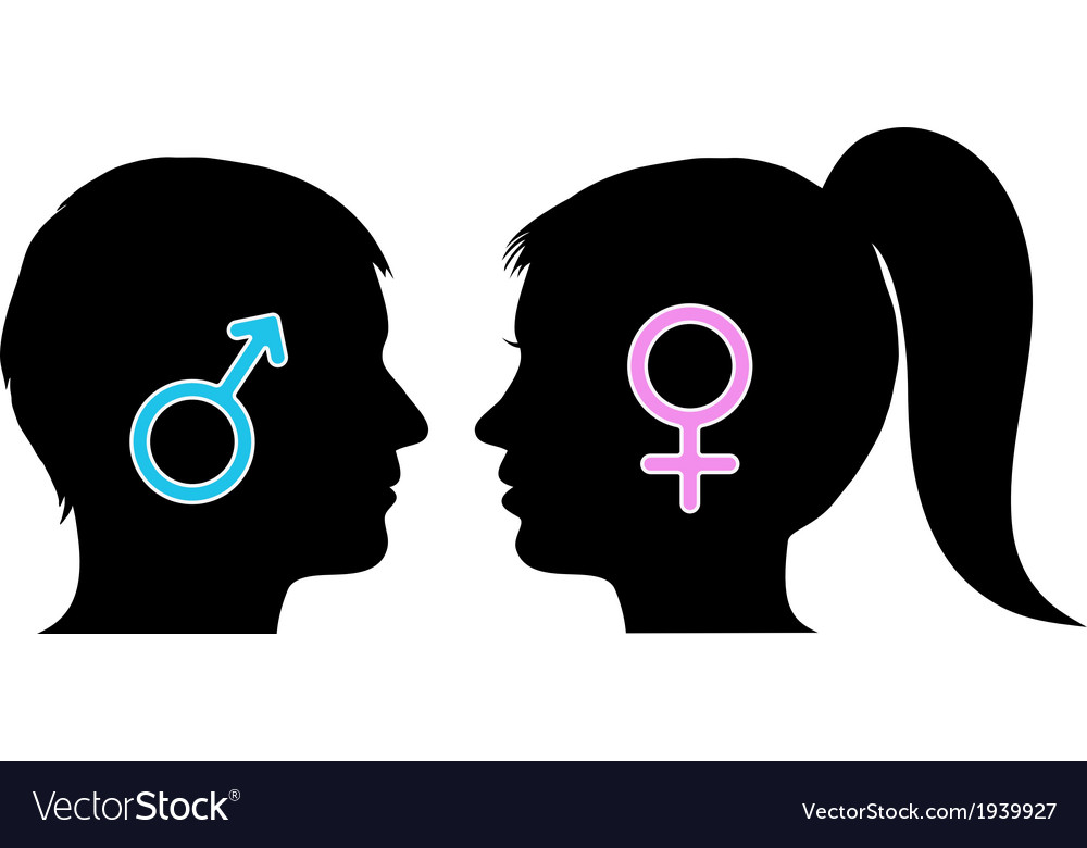 Male and female icons in silhouettes vector