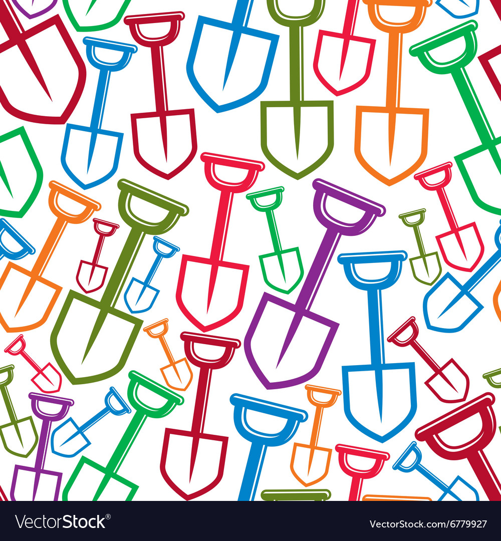 Seamless pattern with garden tools simple shovels vector