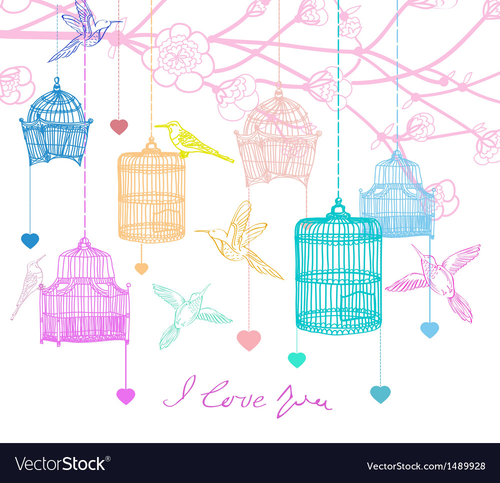 Background with birds and cages vector