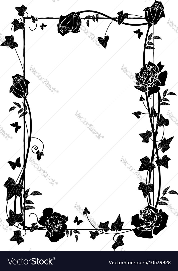 Frame with roses and butterflies vector