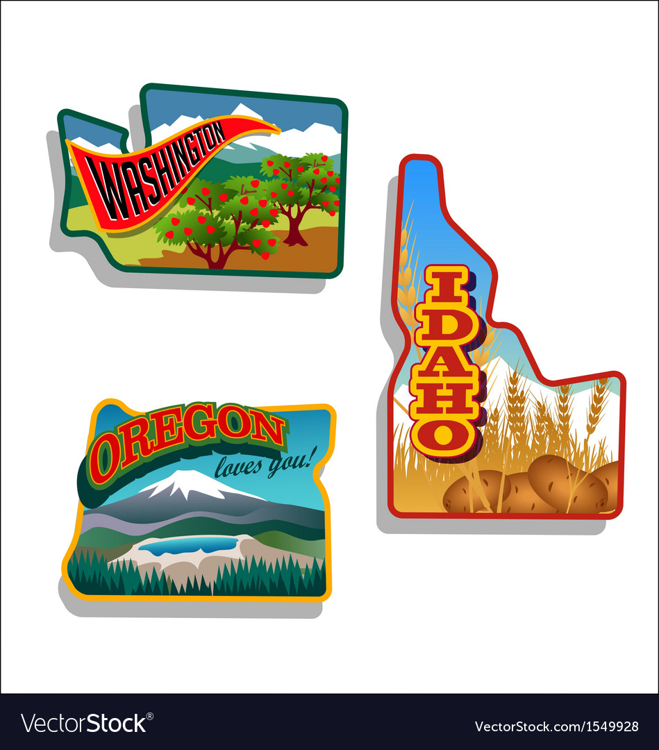 Idaho oregon washington retro vector