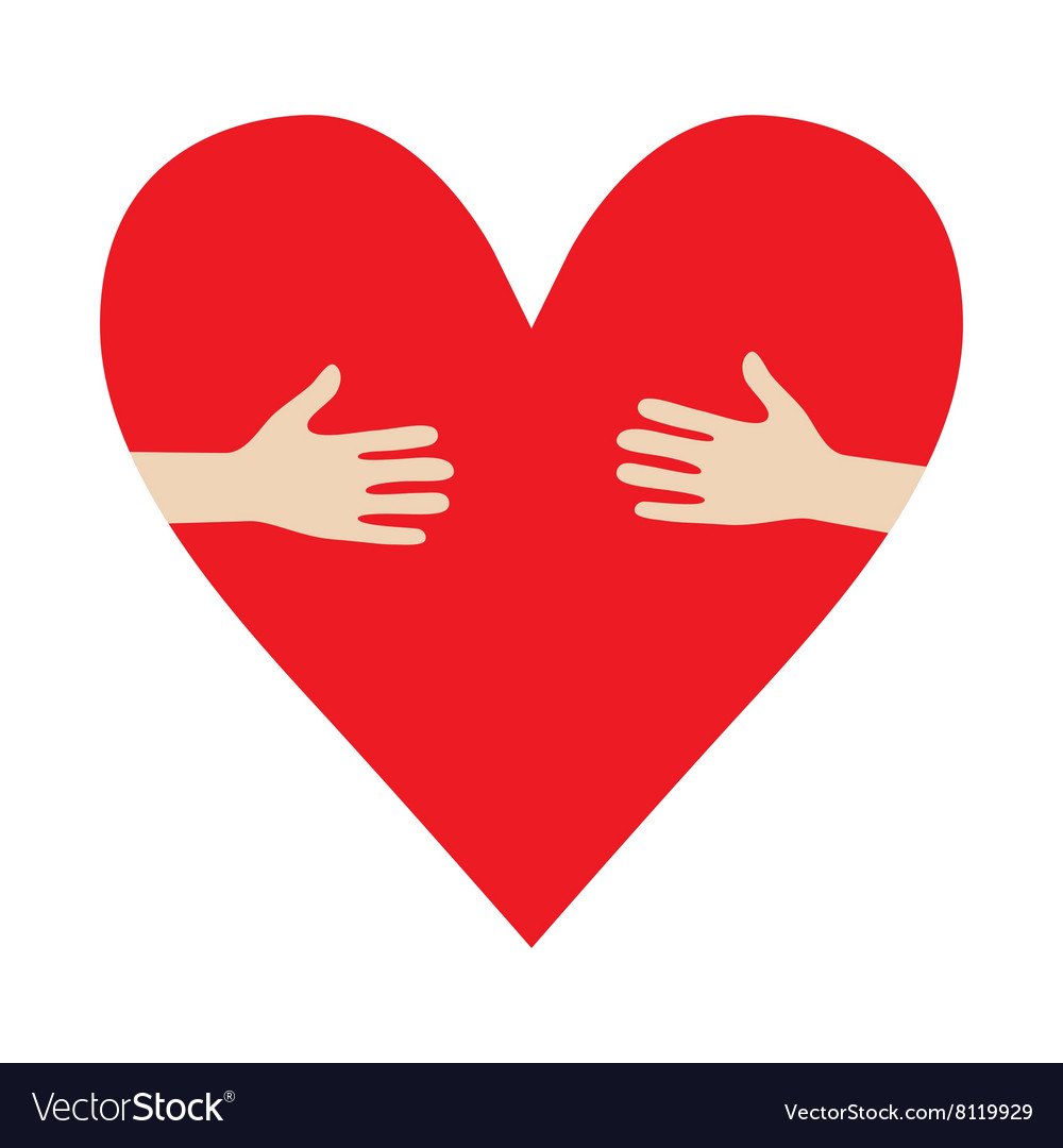 Heart in hands hug donation encourage vector