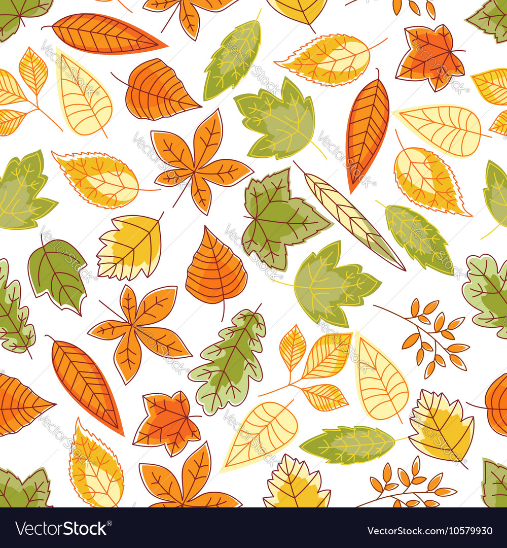 Autumn leaves seamless pattern for nature design vector