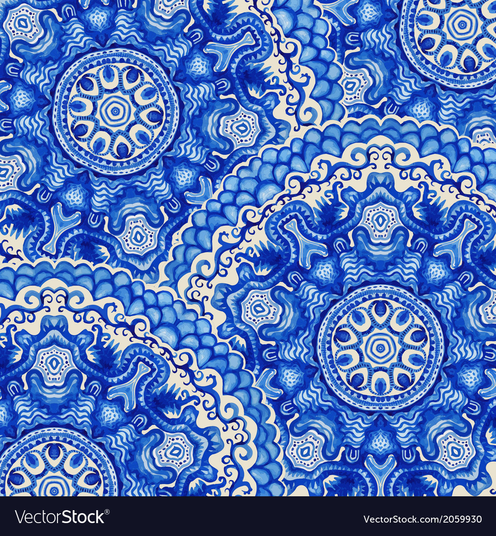 Seamless doily watercolor gzhel pattern decorative vector