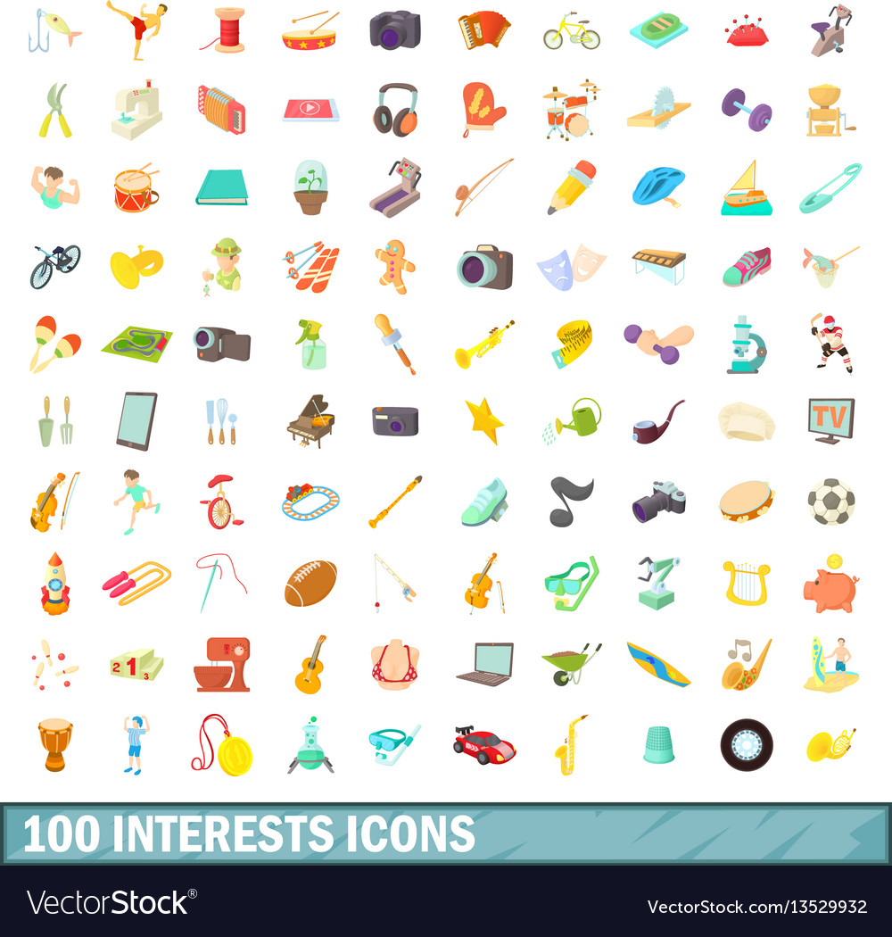 100 interests icons set cartoon style vector