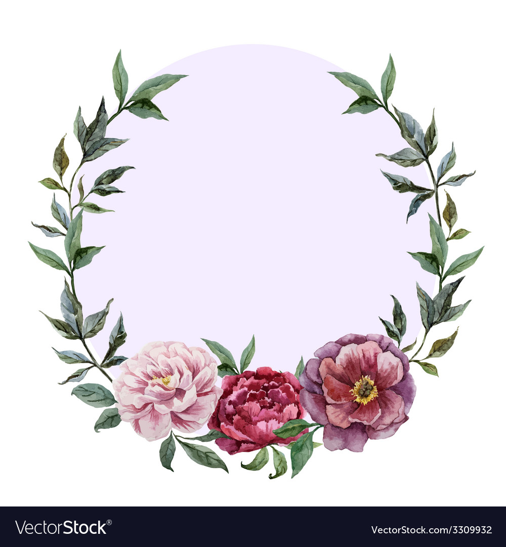 Beautiful watercolor frame with peonies on black vector
