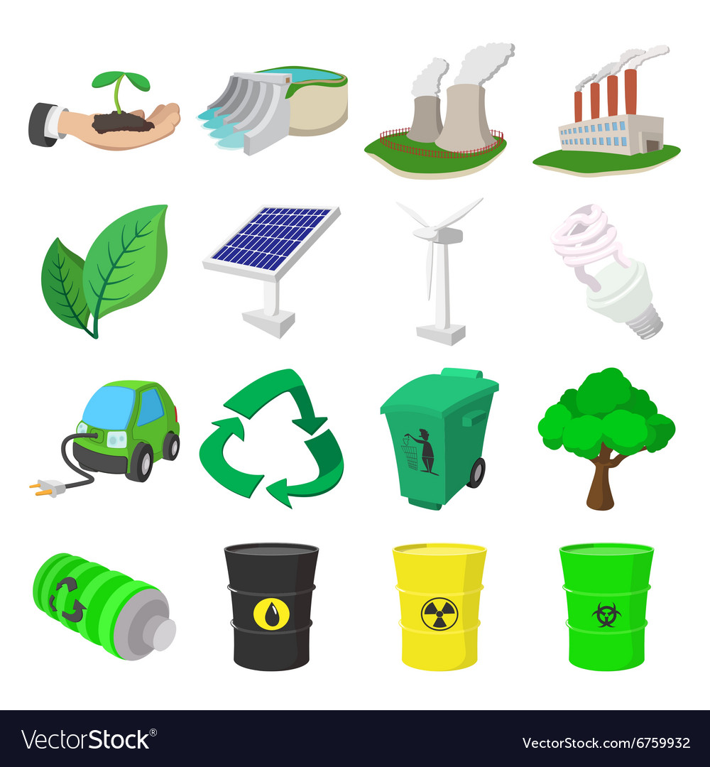 Ecology cartoon icons set vector