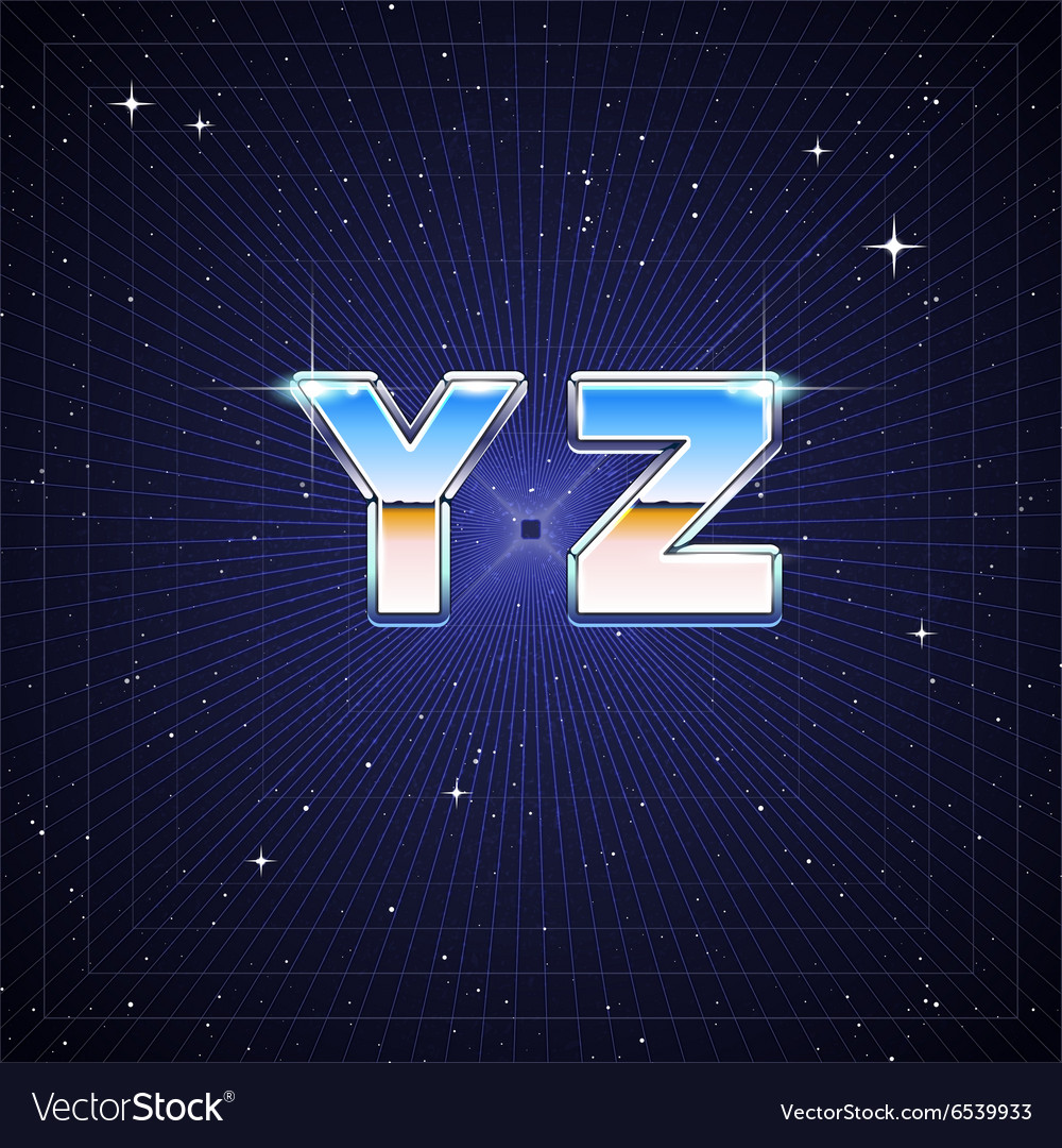 80s retro scifi font from y to z vector