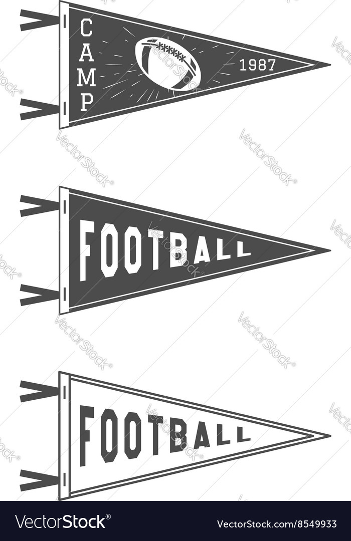 College football pennant flags set vector