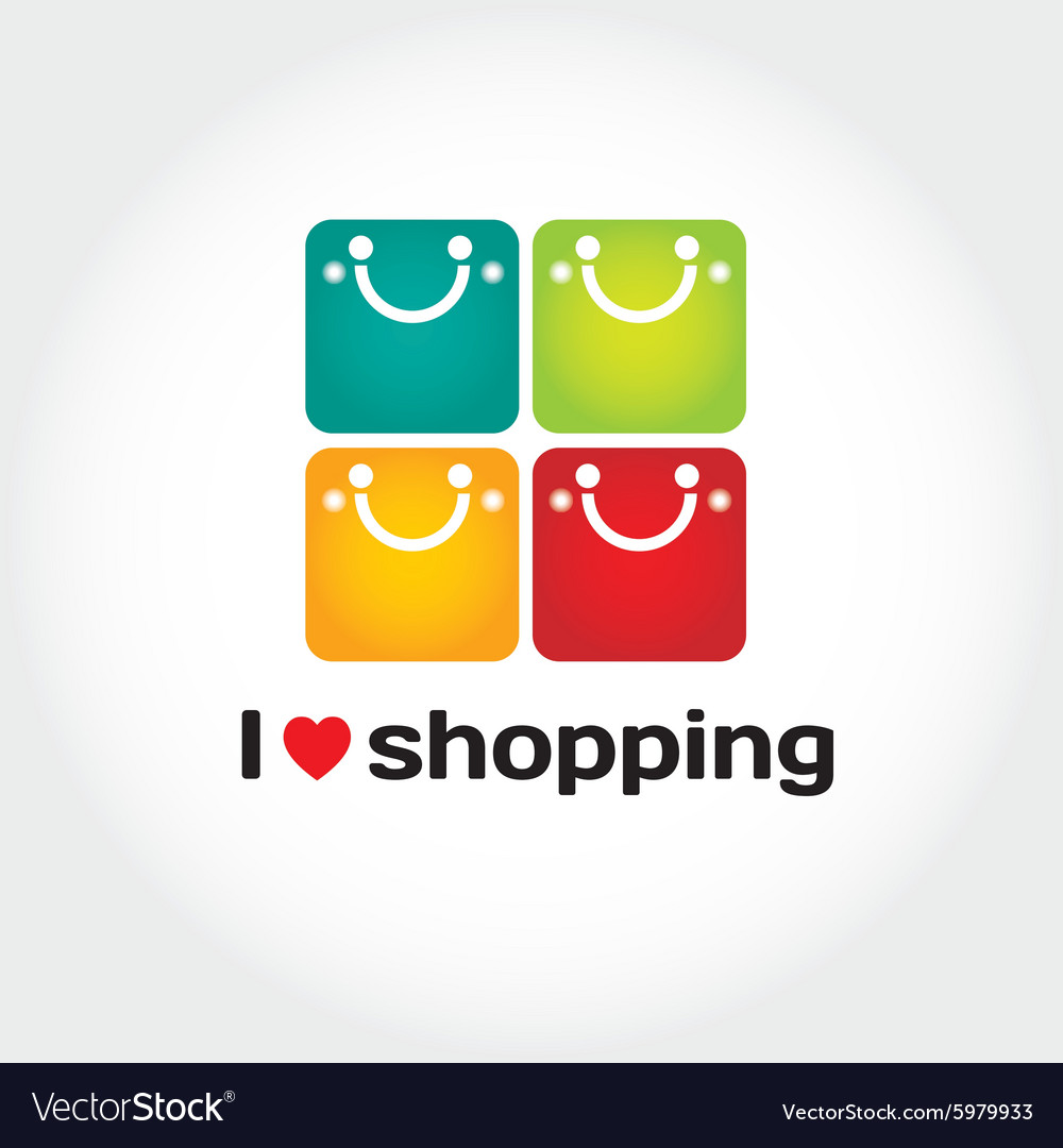 I love shopping sign with typography four vector
