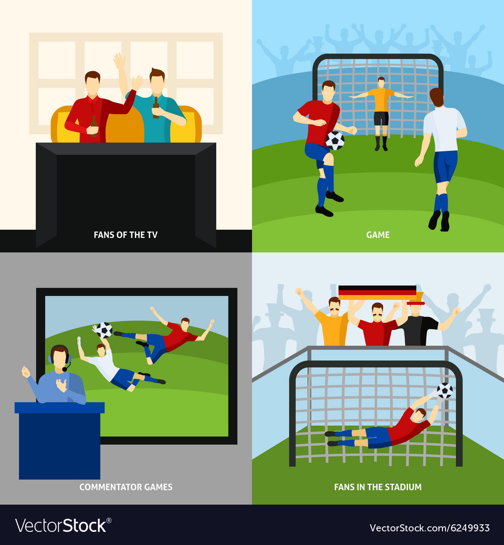 Soccer 4 flat icons square composition vector