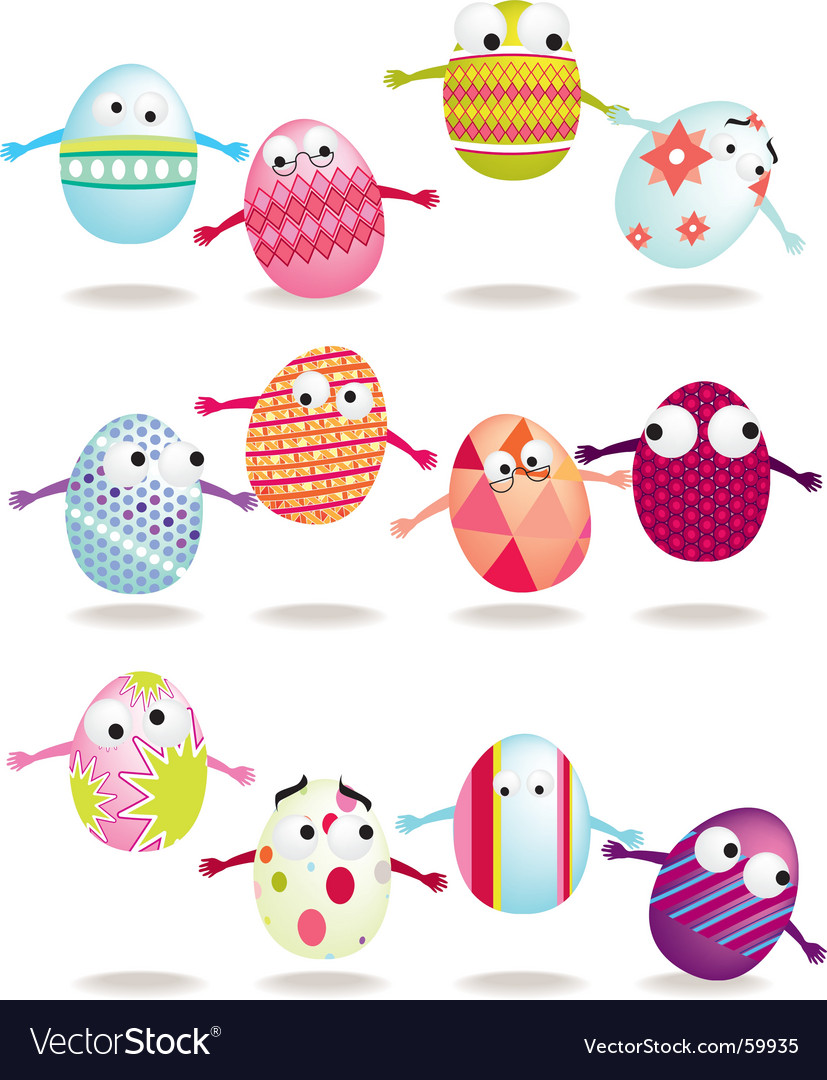 Bouncing eggs vector