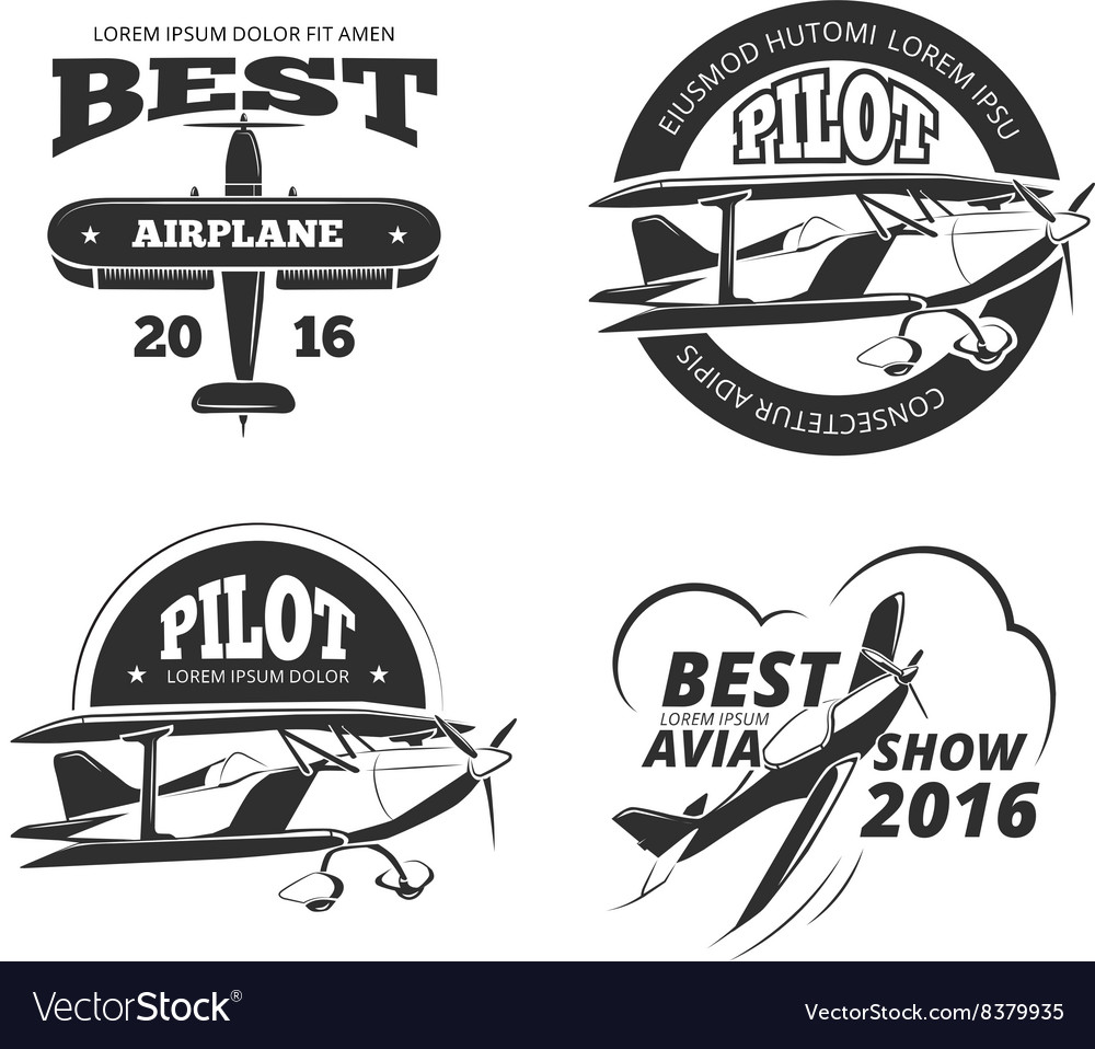 Retro airplane aircraft labels set vector