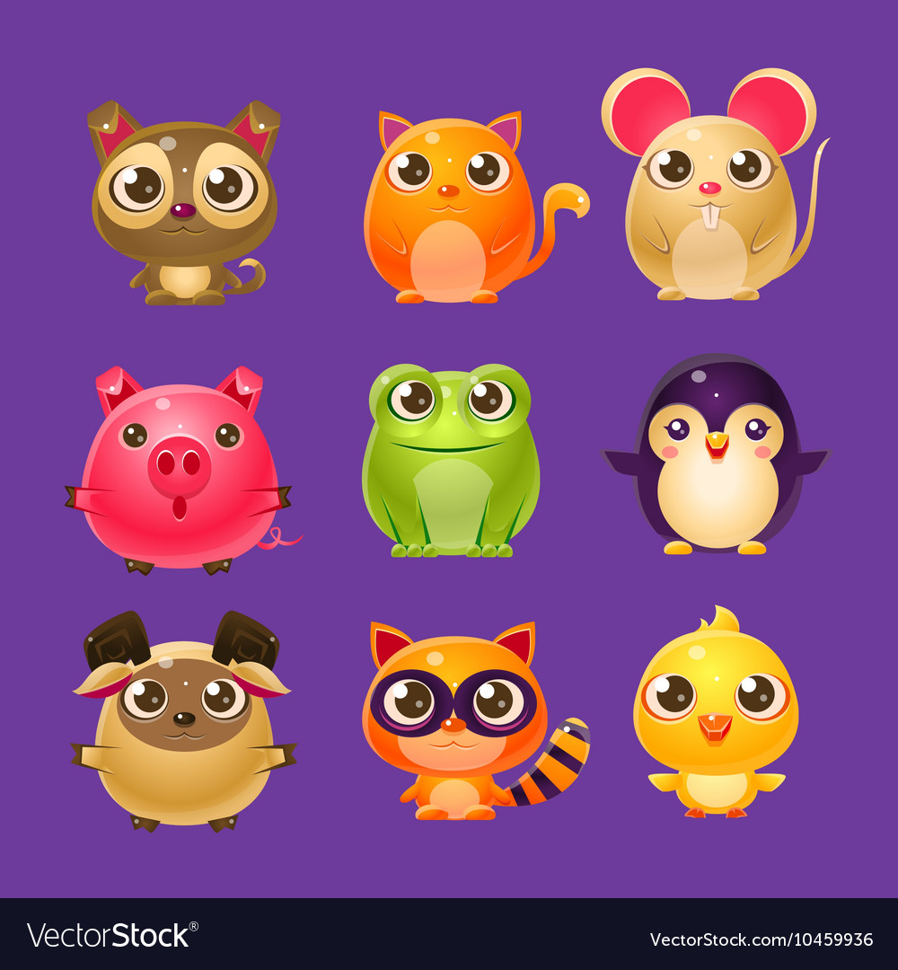Adorable baby animals in girly design vector