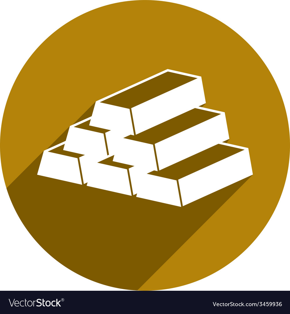 Gold bars icon isolated vector