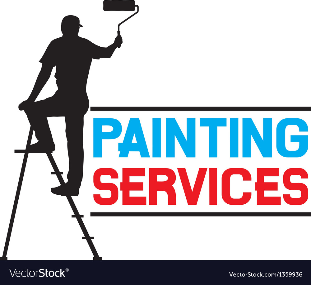 Painting services design  man painting the wall vector