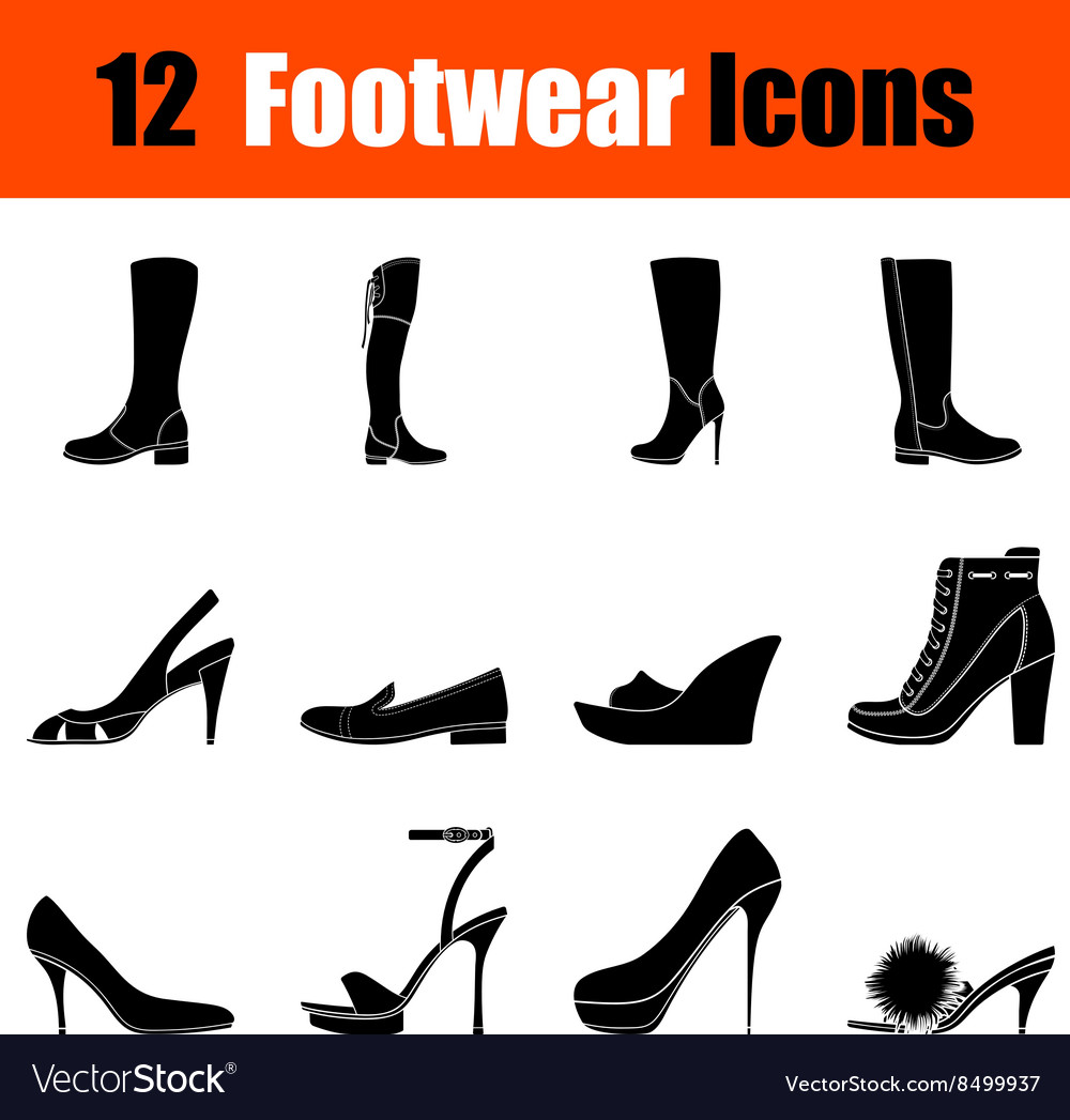 Set of womans footwear icons vector