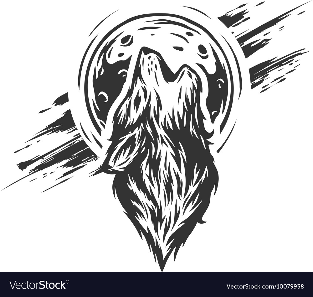 Wolf on the moon background vector