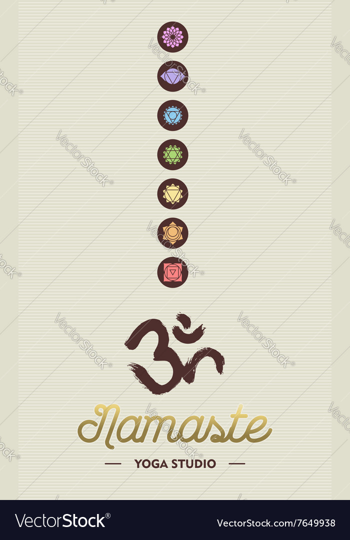 Yoga studio business concept with chakra icons vector