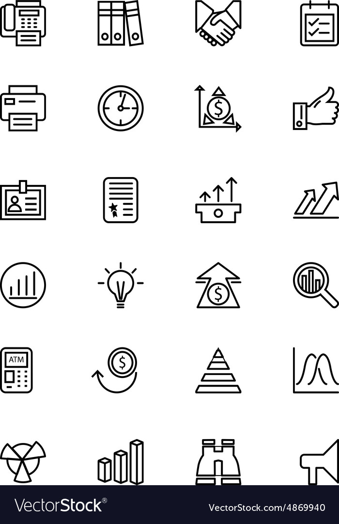 Finance line icons 4 vector
