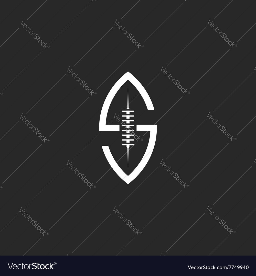 Football ball logo s letter creative idea rugby vector