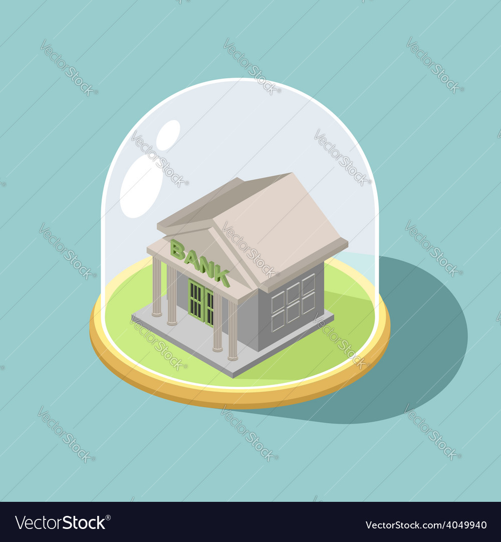 Protection of bank bank isometric building vector